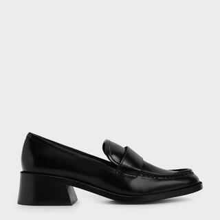 チャールズアンドキース(Charles and Keith)のチャールズ&キース ブロックヒールペニーローファー(ローファー/革靴)
