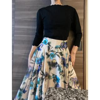 いちえ ichie 黒色セーター&花柄シフォンフレアースカートset売り♪(ニット/セーター)