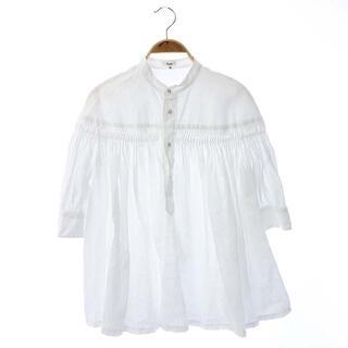 Scye - サイ リネン高密度半袖タックシャツ ブラウス バンドカラー 七分袖 リネン 40