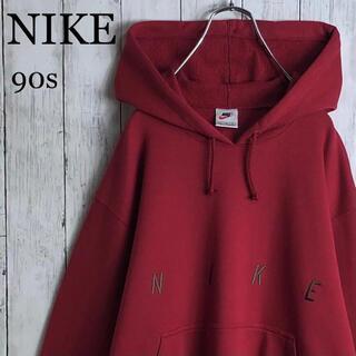 ナイキ(NIKE)の【美品】ナイキ 90s 銀タグ デカロゴ 刺繍ロゴ パーカー L 赤紫(パーカー)