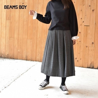ヤエカ(YAECA)の美品 BEAMS BOY✨ツイード ウールアンゴラ タック ロングスカート(ロングスカート)