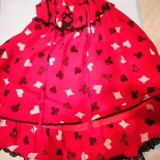 アンジェリックプリティー(Angelic Pretty)のアンジェリックプリティ初版トランプ柄ジャンパースカート赤とオーバーニー(ひざ丈ワンピース)