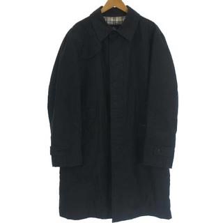 バーバリーブラックレーベル(BURBERRY BLACK LABEL)のバーバリーブラックレーベル ステンカラー コート ロング 裏ノバチェック 黒 L(ステンカラーコート)