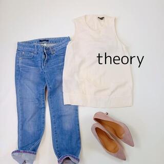 セオリー(theory)のセオリー ノースリーブカットソー サイズS オフホワイト シルク100%(Tシャツ(半袖/袖なし))