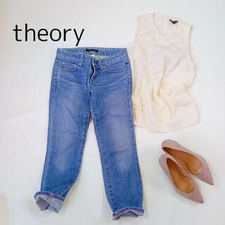 セオリー(theory)のセオリー デニムパンツ サイズXX0 ブルー 七分丈 ジーンズ シンプル(デニム/ジーンズ)
