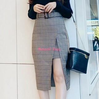 リップサービス(LIP SERVICE)のバイカラーベルトスリットレイヤードスカート♡(ひざ丈スカート)