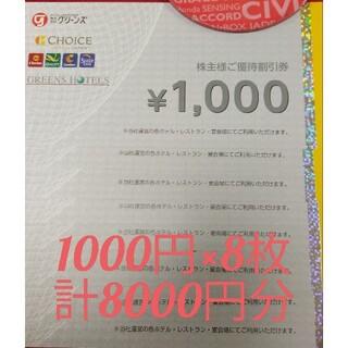 グリーンズ 株主優待 8000円分 有効期限2022年2月28日(その他)