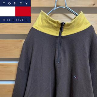 トミーヒルフィガー(TOMMY HILFIGER)のTommyHilfiger ハーフジップ トレーナー ロンT ブラウン 刺繍ロゴ(スウェット)