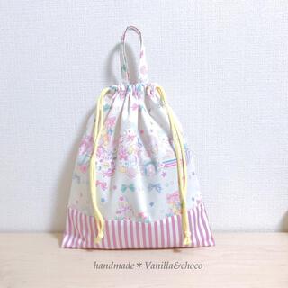 ユニコーン&スイーツ♡オフホワイト×パープルストライプ 体操着袋(外出用品)