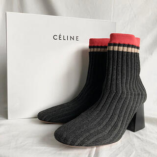 セリーヌ(celine)の美品 セリーヌ リブニット アンクルブーツ  バレリーナ ソックス フィービー期(ブーツ)