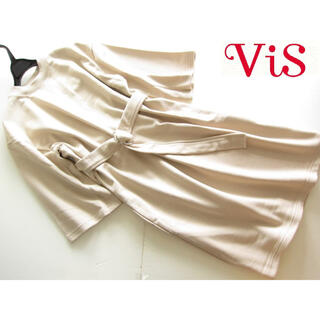 ヴィス(ViS)のVIS/ビス 新品 ウエストベルト付きフレア袖スウェットワンピース/BE(ひざ丈ワンピース)