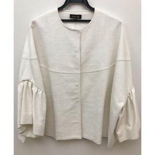 ドゥロワー(Drawer)のドゥロワー drawer ジャケット ツィード風 ホワイト 白 美品 ポンチョ(ノーカラージャケット)