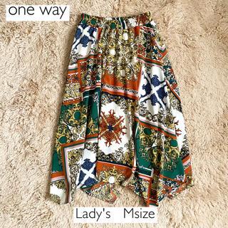 ワンウェイ(one*way)のone wayスカーフ柄ウエストゴムスカート 総柄 フレアスカート(ひざ丈スカート)