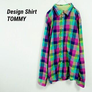 トミー(TOMMY)の90s TOMMY トミー 長袖シャツ チェック柄 BDシャツ 刺繍ロゴ(シャツ)