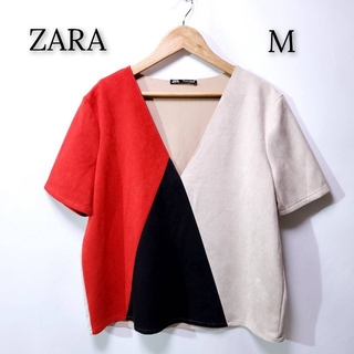 ZARA - 【美品♪】ZARA ザラ ベロア調  カットソー ブラック ベージュ レッド