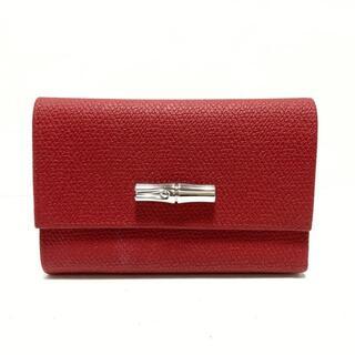 ロンシャン(LONGCHAMP)のロンシャン 3つ折り財布美品  - レッド(財布)