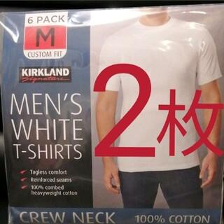 コストコ(コストコ)の【コストコ/カークランド】メンズクルーネック白Tシャツ(ホワイト Mサイズ2 枚(Tシャツ/カットソー(半袖/袖なし))