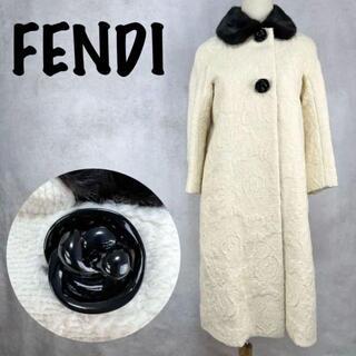 フェンディ(FENDI)の【希少/美品】フェンディ ロングコート シルク混 フェイクファー 花柄 40(ロングコート)