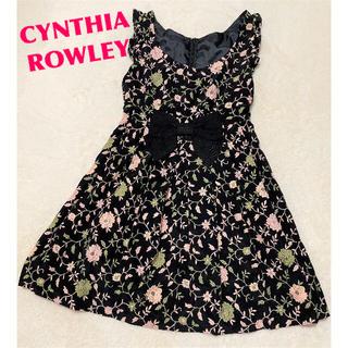 シンシアローリー(Cynthia Rowley)のCYNTHIA ROWLEY 花柄 刺繍 ノースリーブ ワンピース サイズ2(ひざ丈ワンピース)