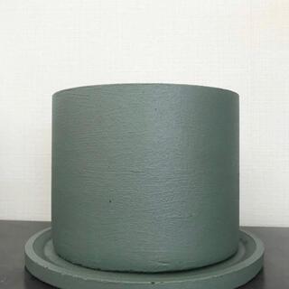 オシャレセメント鉢 ブロンズグリーン 受け皿付き(プランター)