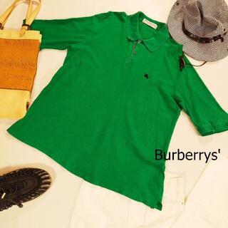 バーバリー(BURBERRY)のバーバリーズ ポロシャツ グリーン 半袖 ワンポイント イングランド製 サイズL(ポロシャツ)