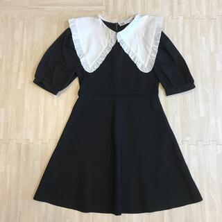 ザラ(ZARA)のZARA ♡ ニット 襟付き ワンピース 黒 Mサイズ(ひざ丈ワンピース)