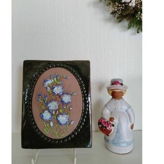 ローラアシュレイ(LAURA ASHLEY)のjie gantofta ジイガントフタ 陶板 麻のお花 フレーム 北欧雑貨(置物)