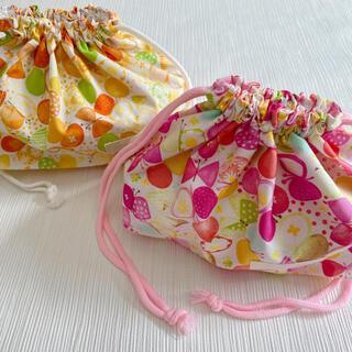お弁当袋 女の子 リボンちょうちょ オレンジ ピンク イエロー(外出用品)