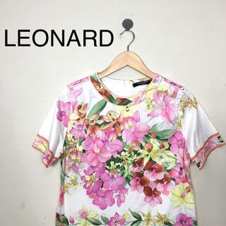 レオナール(LEONARD)のB453LEONARDレオナール 花柄半袖カットソートップス ピンク系  L(カットソー(半袖/袖なし))