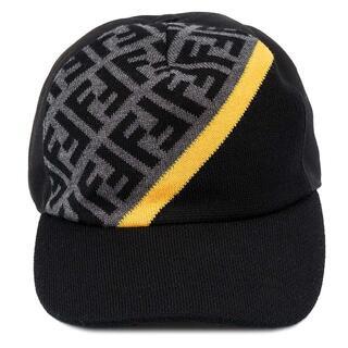 フェンディ(FENDI)のFENDI キャップ帽子 FXQ768 メンズ グレー×ブラック×イエロー(キャップ)