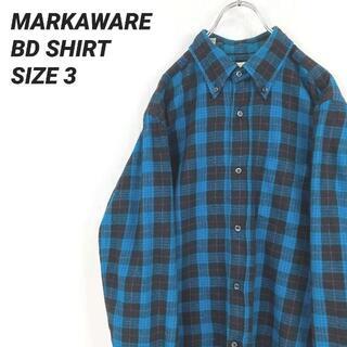 マーカウェア(MARKAWEAR)のMARKAWAREマーカウェア長袖チェックボタンダウンシャツ青黒ユニセックス古着(シャツ)