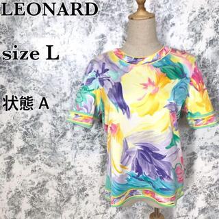 レオナール(LEONARD)のレオナール 花柄 半袖 クールネック Tシャツ カットソー 綿 サイズL(カットソー(半袖/袖なし))
