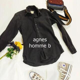 アニエスベー(agnes b.)のアニエスベーオム シャツ ブラック 長袖 Yシャツ 襟付き シンプル フランス製(シャツ/ブラウス(長袖/七分))