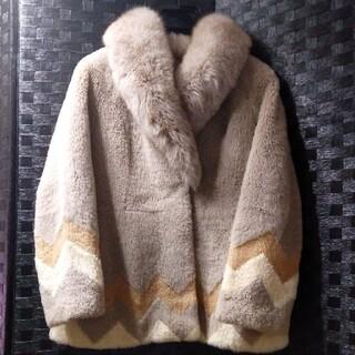 双極様専用 bite bearコートラムファー本毛皮ジグザグ柄(毛皮/ファーコート)