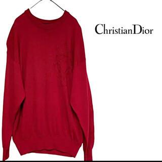 クリスチャンディオール(Christian Dior)の【激レア】90s Christian Dior  ニット エンブレム  赤 XL(ニット/セーター)