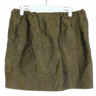 ドゥロワー(Drawer)のドゥロワー タイトスカート スカート ひざ丈 シルク 40 L ゴールド色 黒(ひざ丈スカート)
