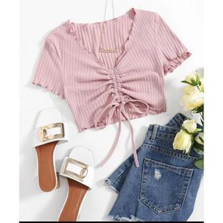 エイチアンドエム(H&M)のSHEIN トップス ピンク(Tシャツ(半袖/袖なし))