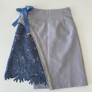 リリーブラウン(Lily Brown)のリリーブラウン ビジューレーススカート  lily brown スカート ブルー(ミニスカート)