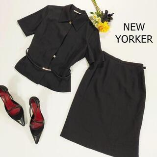 ニューヨーカー(NEWYORKER)のニューヨーカー シャツ サイズ9 M ブラック ベルト付き 半袖 襟付き(シャツ/ブラウス(長袖/七分))