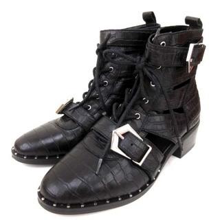 スティーブマデン(Steve Madden)のスティーブマデン 美品 ショートブーツ グラディエーター クロコ 黒 7.5M(ブーツ)