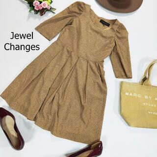 ジュエルチェンジズ(Jewel Changes)のジュエルチェンジズ ワンピ ベージュ ドット パワーショルダー ひざ丈 S(ひざ丈ワンピース)