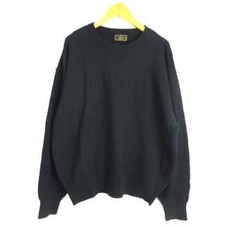 フェンディ(FENDI)のフェンディ ロゴ ニット セーター プルオーバー クルーネック ウール 黒 (ニット/セーター)
