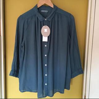 サンバレー(SUNVALLEY)のSunvalley   ボイル8分袖シャツ(ブルー)   新品(シャツ/ブラウス(長袖/七分))