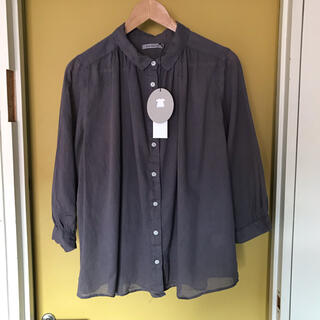 サンバレー(SUNVALLEY)のSunvalley   ボイル8分袖シャツ(Dパープル)   新品(シャツ/ブラウス(長袖/七分))