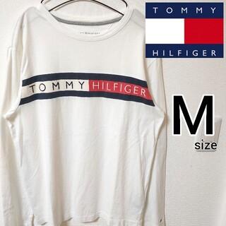 トミーヒルフィガー(TOMMY HILFIGER)のトミーヒルフィガー 刺繍ロゴ 白 長袖Tシャツ カットソー メンズ M 即購入可(Tシャツ/カットソー(七分/長袖))
