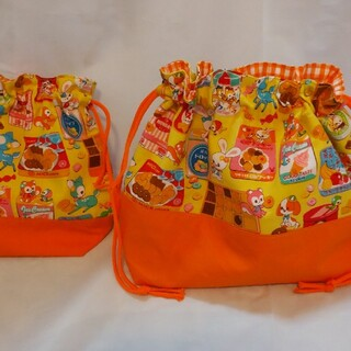 ☆ ハンドメイド お弁当袋・コップ袋 レトロアニマル お菓子柄 オレンジ ☆(外出用品)
