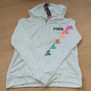 ヴィクトリアズシークレット(Victoria's Secret)の格安!!VS PINK Lサイズ♡パーカー 新品未使用 ホワイト(パーカー)