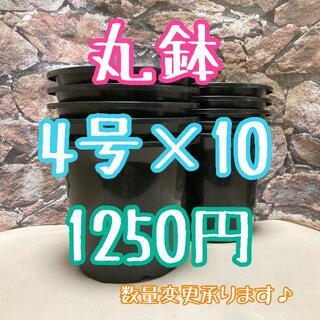 ◎10個◎ 4号 / 4寸 / 12.5cm 丸鉢 プラ鉢 黒 ブラック(プランター)