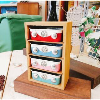 R1009a newVW缶木製小物入れ4段ラック 1個(リメ缶・リメ鉢(その他)