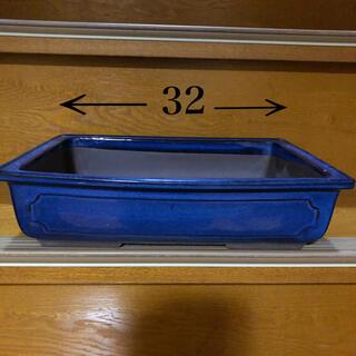 盆栽 陶器 長方形 青 植木鉢(プランター)